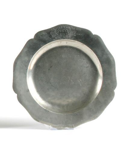 A mid 18th Century plain rim wavy edge plate, circa 1750