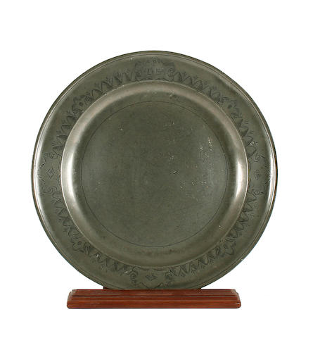 A late 18th Century single reed engraved dish
