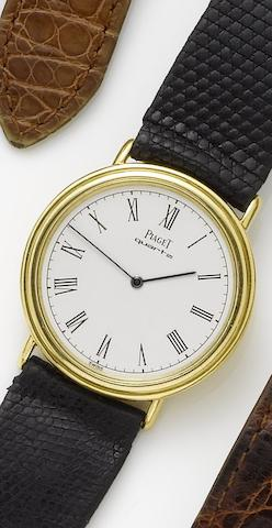 Piaget. An 18ct gold back winding quartz wristwatchRecent