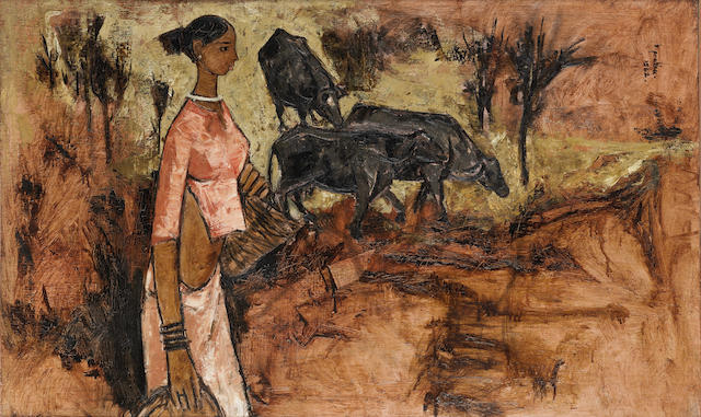 (n/a) B. Prabha (India, 1933-2001) Untitled (Woman with Bulls),
