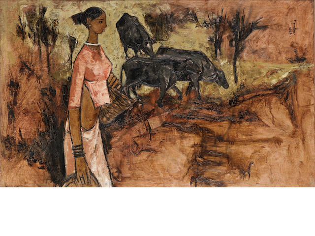 B. Prabha (India, 1933-2001) Untitled (Woman with Bulls),