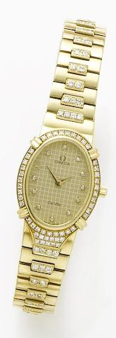Omega. A lady's 18ct yellow gold diamond set quartz wristwatchDe Ville, Sold 1985