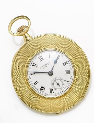 J.W. Benson. An 18ct gold manual wind open faced pocket watch with fitted boxHallmarked Glasgow Import 1921