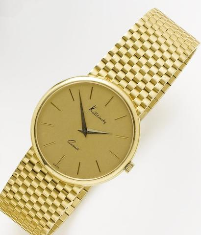 Kutchinsky. An 18ct gold quartz bracelet watchCirca 1980
