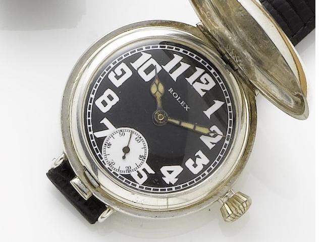 Rolex. A silver manual wind full hunter wristwatchHallmarked London Import 1916