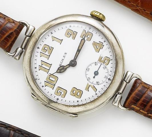 Swiss. A continental silver manual wind trench style wristwatchCirca 1920