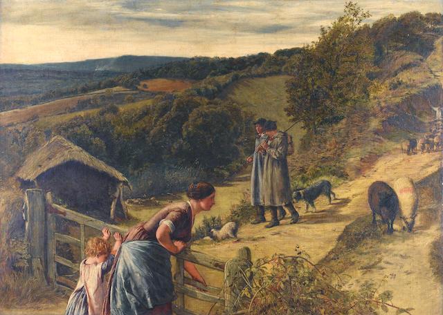 "James Clarke Hook (British, 1819-1907),   A Pastoral - ""Then blow your pypes..."""