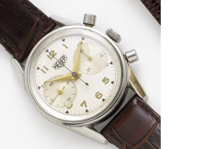 Heuer. A stainless steel manual wind chronograph wristwatchCirca 1960