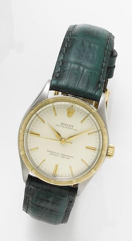 Rolex. A stainless steel and gold automatic wristwatchRef. 5500, Case Number 3917892, Circa 1973
