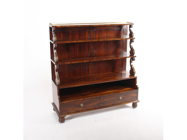 A good George IV rosewood waterfall open bookcase
