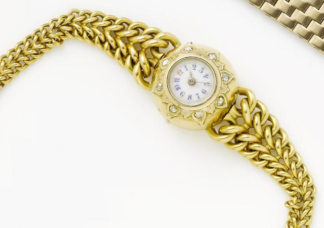 Swiss. A lady's early twentieth century continental gold hemispherical bracelet watch