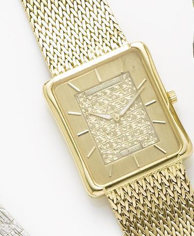 Patek Philippe. An 18ct gold manual wind bracelet watchCirca 1970