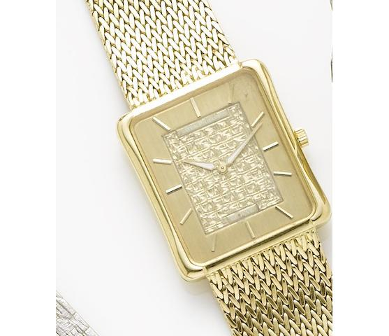 Patek Philippe. An 18ct gold manual wind bracelet watchCirca 1970
