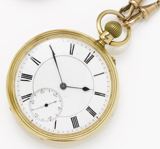 Fridlander. An 18ct gold open face pocket watch together with 9ct rose gold open curb link Albert chainNumber 14269, Hallmarked London 1894