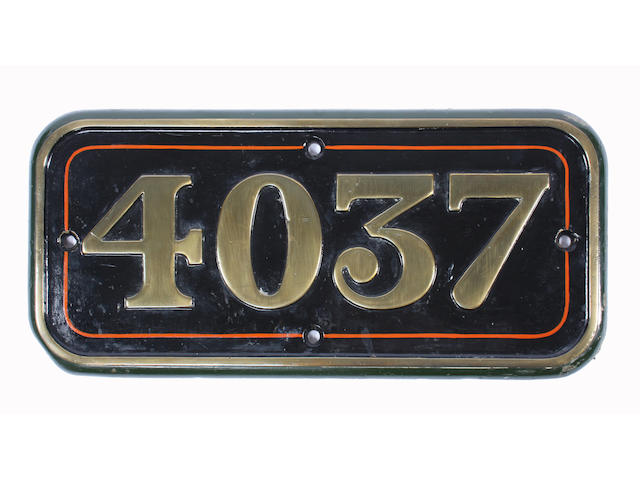 GWR brass cabside number 4037 ex-Castle Class The South Wales Borderers