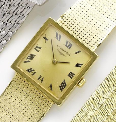 Longines. An 18ct gold manual wind bracelet watchCirca 1970