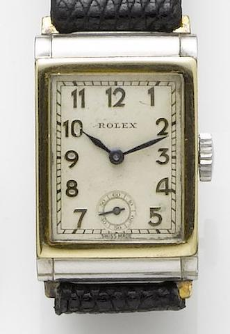 Rolex. A stainless steel and gold rectangular manual wind wristwatchRef. 2536, Case Number 20686, Circa 1930
