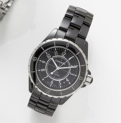 Chanel. A black ceramic automatic bracelet watchJ12, Sold 9th December 2007
