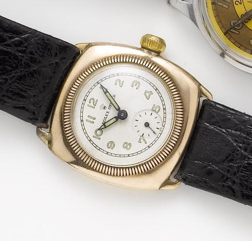 Rolex. A 9ct rose gold manual wind wristwatchHallmarked Glasgow Import 1927