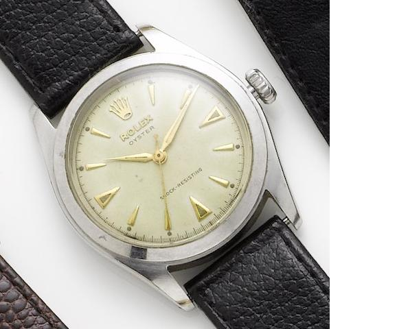 Rolex. A stainless steel manual wind wristwatchOyster, Ref. 6082, Case Number 784253, Circa 1951