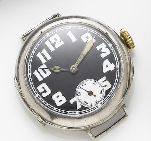 Rolex. An early twentieth century silver military wristwatch Hallmarked London Import 1915