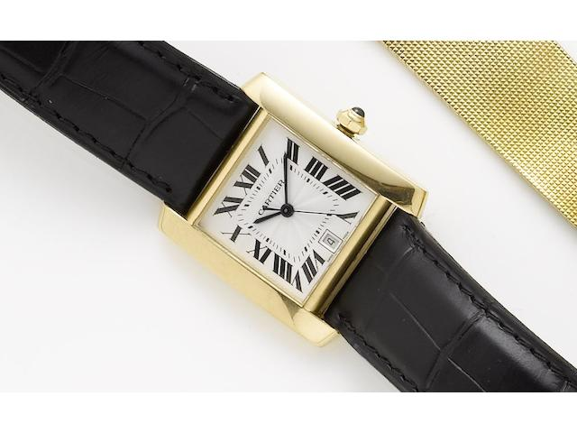 Cartier. An 18ct gold automatic wristwatchTank, Sold 22nd June 2004