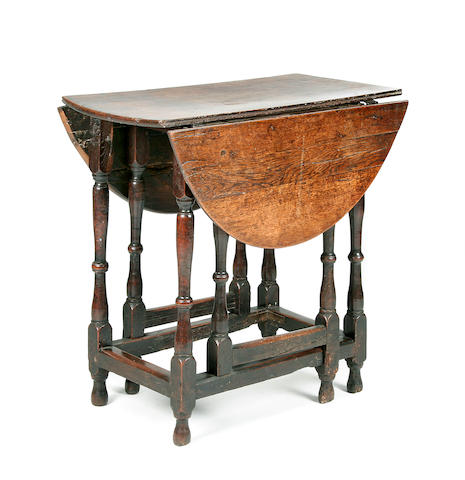 An oak gateleg table, late 17th Century and later