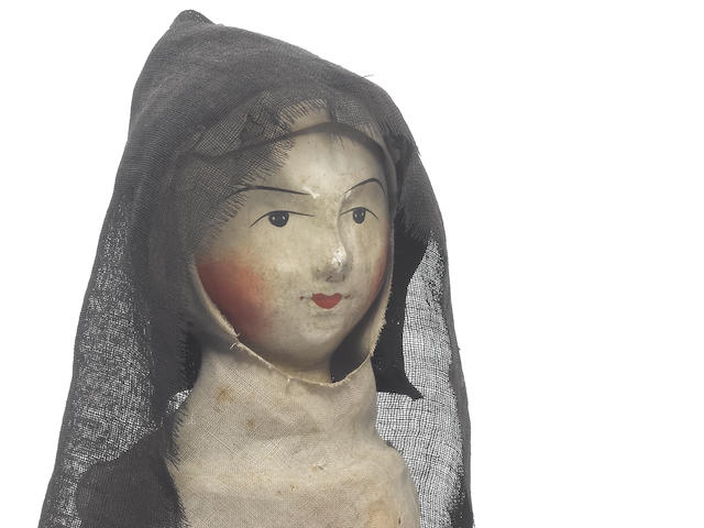 Catherine Bonnel, Sister Isabelle of the Carmelite convent at Bethune, a fine and rare English carved wooden doll, circa 1680