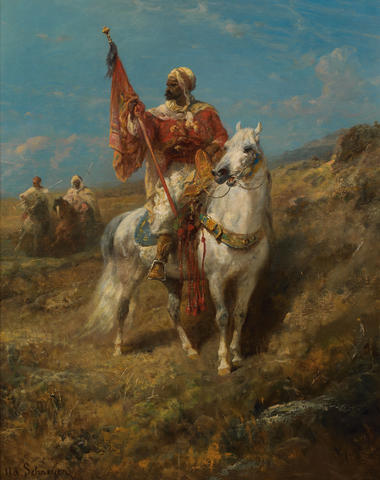 Adolf Schreyer (German, 1828-1899) The standard bearer