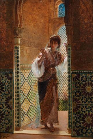 Edouard Frederic Wilhelm Richter (German, 1844-1913) Oriental beauty by a window