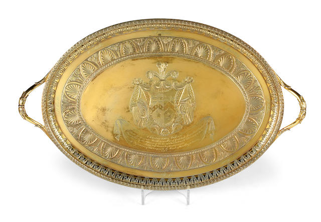 Of Loyal Christchurch Volunteer interest:- A George III silver-gilt two-handled tea tray by Robert Sharp, London 1792