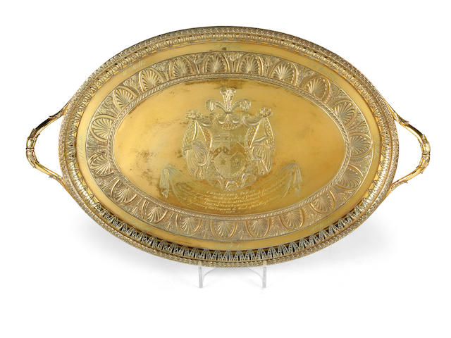 Of Loyal Christchurch Volunteer interest:- A George III silver-gilt two-handled tea tray, by Robert Sharp,  London 1792