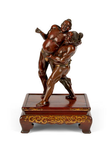 A Japanese bronze model of Sumo wrestlers By Miyao studio, late 19th century