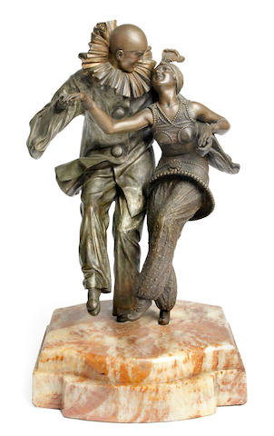Demetre Chiparus  'Fancy Dress' a silvered and patinated bronze group of Pierrot and Columbine, circa 1925