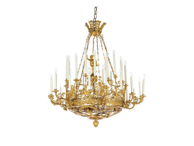 An important and rare early 19th century Russian ormolu forty-two light chandelier