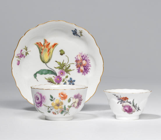 A Meissen teabowl and saucer and a small teabowl Circa 1750