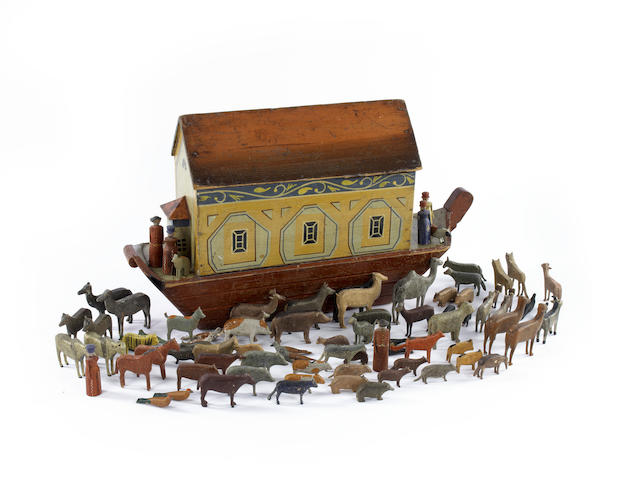 Painted wooden Noah's Ark and animals, German circa 1880