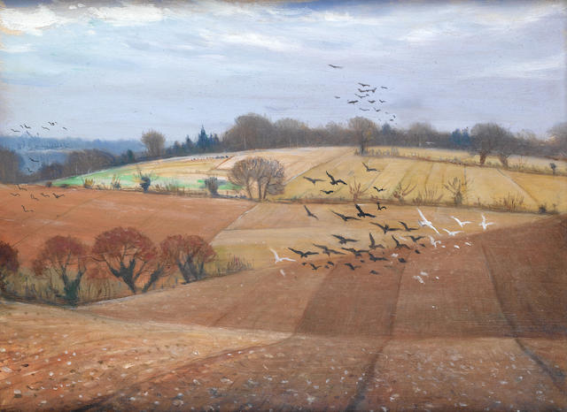 Christopher Richard Wynne Nevinson A.R.A. (British, 1889-1946) Near Leatherhead 30 x 41 cm. (11 3/4 x 16 in.)