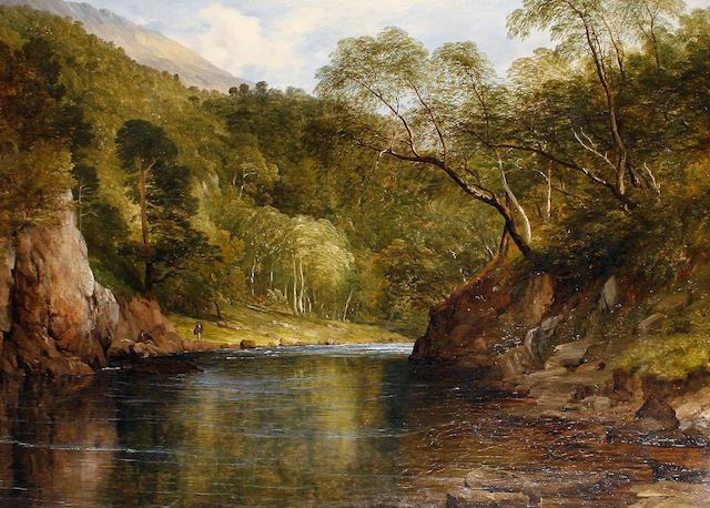 Frederick Richard Lee (British, 1798-1879) Salmon fishing on the river Awe 71.5 x 99.5cm (28 1/8 x 39 3/16in)