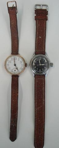A lot of 2 watches including a 9ct rose gold manual wind trench style Rolex wristwatchCirca 1920