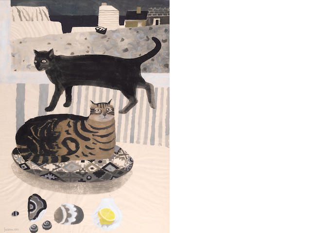 Mary Fedden R.A. (British, born 1915) Cats by the sea 75 x 55 cm. (29 1/2 x 21 1/2 in.)