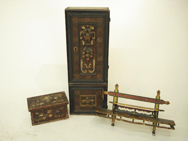 Three pieces of Tyrolean polychrome-painted furniture