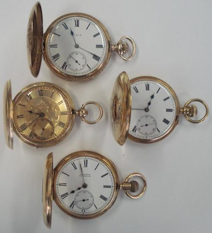 A lot of 4 various gold pocket watches(4)