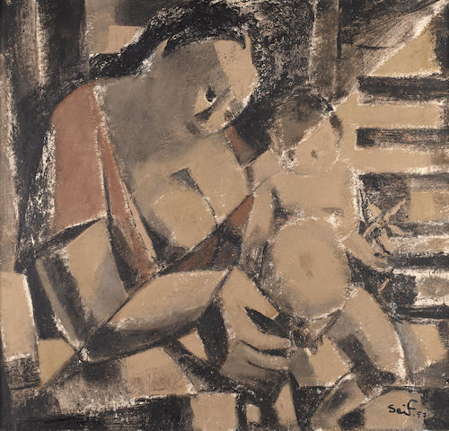 Seif Wanly (Egypt, 1906-1979) Mother and Child,
