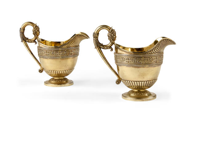 A pair of George III silver-gilt Egyptian revial sauce-boats, by Daniel Smith & robert Sharp, London 1806,  (2)