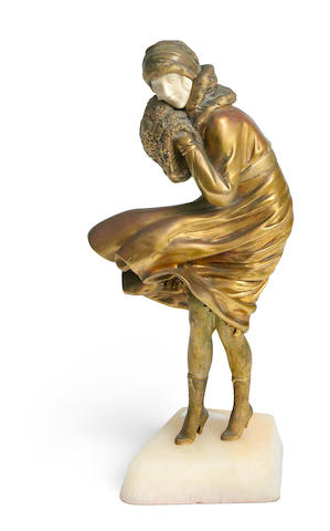 Demetre Chiparus 'The Squall', a gilt bronze and carved ivory figure, circa 1925