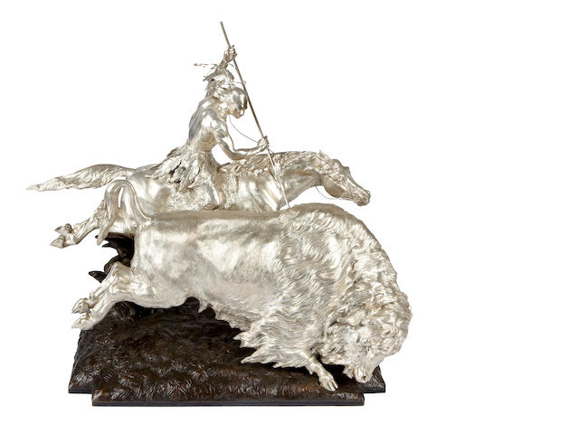 "An impressive and important Victorian silver Equestrian group of an Indian spearing a buffalo by Charles Federick Hancocks, London 1872, the bronze base with facsimile signature ""R. Monti"" and dated 1872"