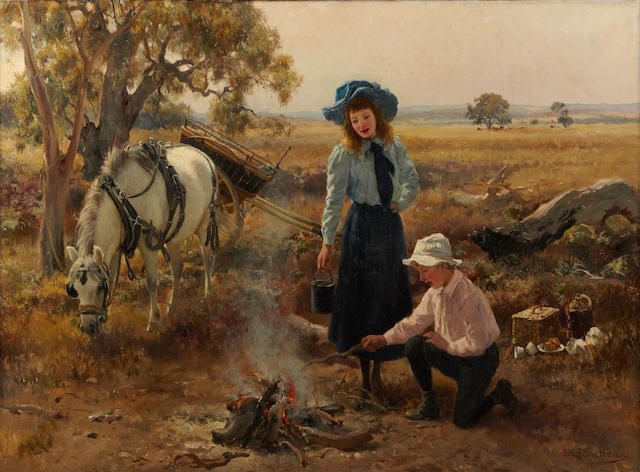 Jan Hendrik Scheltema (Australian 1861-1938) Boiling the billy
