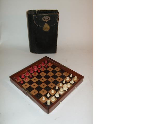 "An ""In Statu Quo"" travelling chess set, Jaques, circa 1870,"