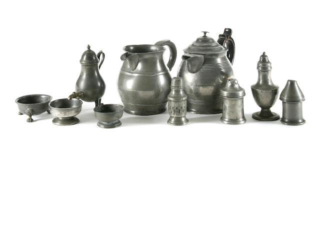 A miscellaneous group of pewter